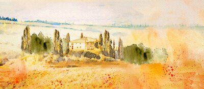 Canvastavlor Watercolor Tuscany. Countryside landscape