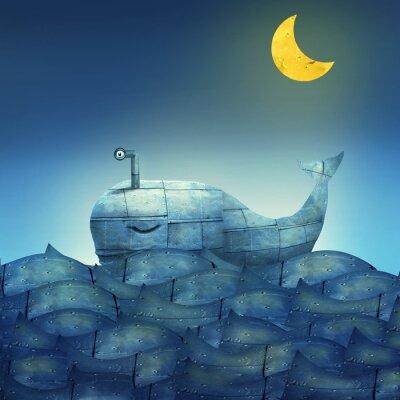 Canvastavlor Whale i blått