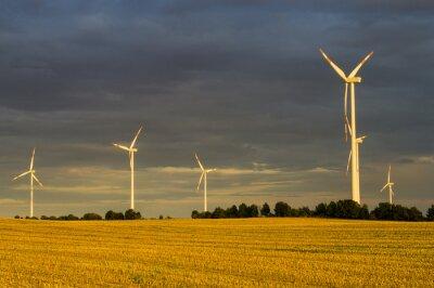 Canvastavlor Wiatraki (turbiny wiatrowe) w świetle wschodzącego słońca
