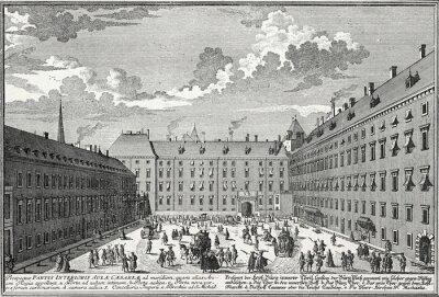 Canvastavlor Wien, Innergård omkring 1725, kopparstick mall