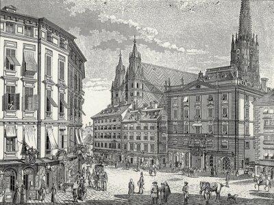 Canvastavlor Wien Lager-im-Eisen-Platz Ende 18. Jh., Kupferstichvorlage