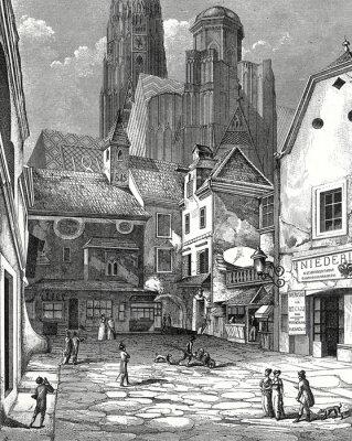 Canvastavlor Wien Zwettlhof mit Stephansdom um 1842 Kupferstichvorlage