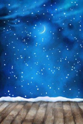 Canvastavlor Winter Night målning Bakgrund