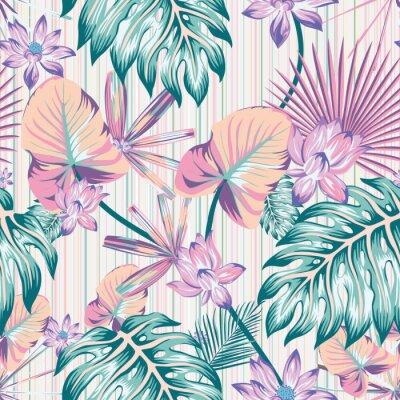 Canvastavlor Winter tropical pattern seamless stripe background