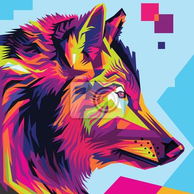 Canvastavlor Wolf head pop art illustration stil