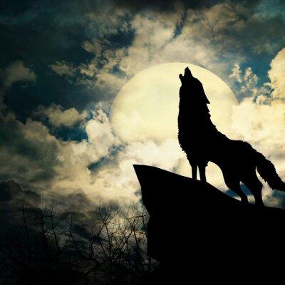 Canvastavlor wolf i siluett tjutande till fullmånen