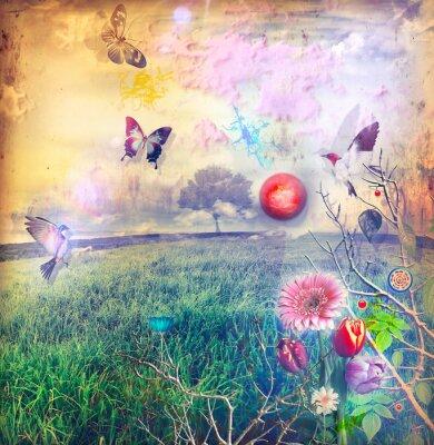 Canvastavlor Wonderland med färgade blommor