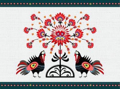 Canvastavlor wzór Ludowy z indykami
