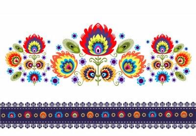 Canvastavlor wzór Ludowy z kwiatami