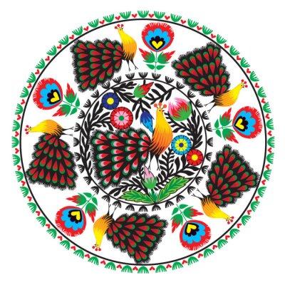 Canvastavlor wzór Ludowy z kwiatami jag pawiem, łowicki