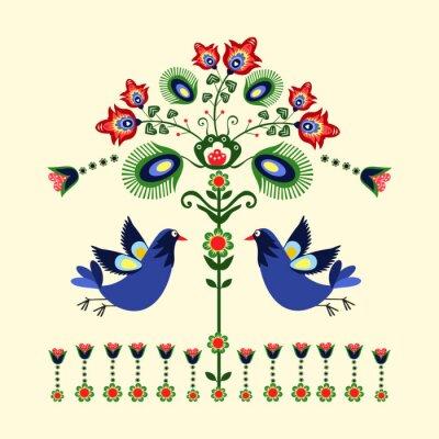 Canvastavlor wzór z Haftu ptakami