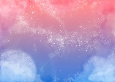 Canvastavlor ふ わ ふ わ ピ ン ク の 空 Fluffig rosa Sky