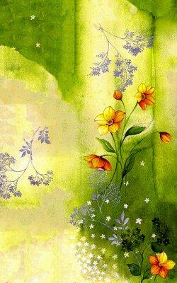 Canvastavlor 수채화 배경 위에 그려진 수선화 줄기 와 싸리 꽃
