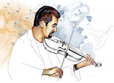 Canvastavlor Рисунок-иллюстрация ,, Музыкант играет на скрипке ,,.