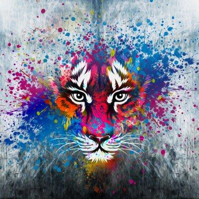 Canvastavlor кляксы на стене.фантазия с тигром