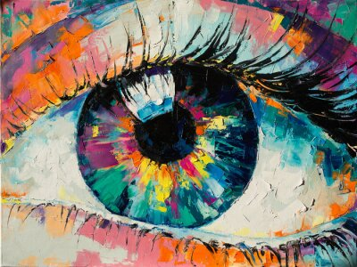"""Canvastavlor """"Fluorite"""" - oil painting. Conceptual abstract picture of the eye. Oil painting in colorful colors. Conceptual abstract closeup of an oil painting and palette knife on canvas."""