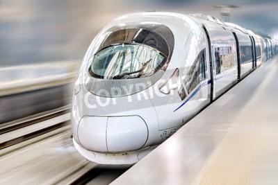 Canvastavlor Modern Hi-Speed Passagerartåg. Rörelse effekt.