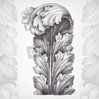 Canvastavlor Årgång acanthus prydnad lövverk med retro mönster i antik rokokostil dekorativa design vektor