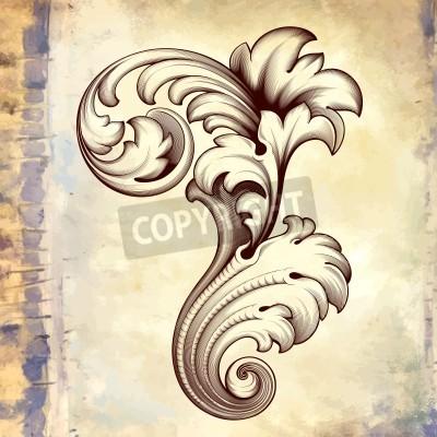 Canvastavlor Årgång barock gravyr blom- rulla filigran designen ramkant acanthus mönsterelement på retro grunge bakgrund