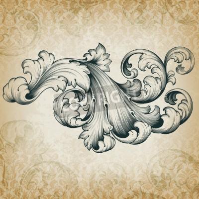 Canvastavlor Årgång barock gravyr blom- rulla filigran designen ramkant acanthus mönsterelement på retro grunge damast bakgrund
