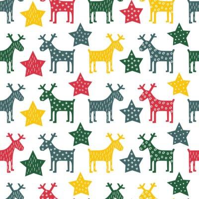 Canvastavlor Seamless färgrik retro jul mönster - Xmas ren och natten stjärnor. Gott Nytt År bakgrund. Vektordesign för vintern semester på vit bakgrund.
