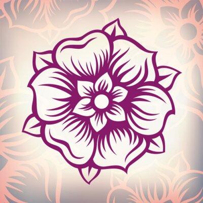 Canvastavlor vektor Årgång barock gravyr blomma