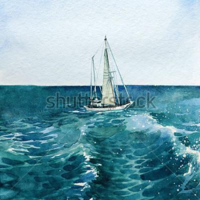 Canvastavlor Yacht. fartyg. hav. vattenfärg. den här bilden kan användas som bakgrund, ett självständigt föremål, som dekoration, i vykort, tapeter, utskrift