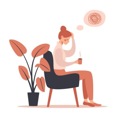 Canvastavlor Young woman with headache drinking hot coffee while sitting in chair. Vector illustration isolated from white background