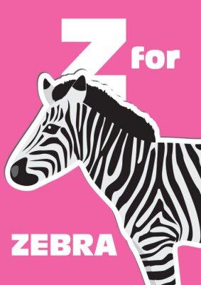 Canvastavlor Z för Zebra, ett djur alfabet för barnen