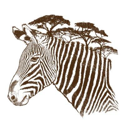 Canvastavlor Zebra med träd