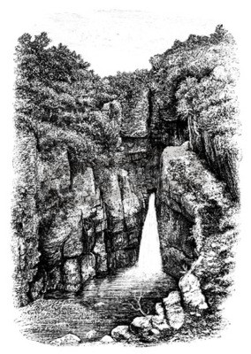 Fototapet 19th century vattenfall nära Lydford, Devon, UK