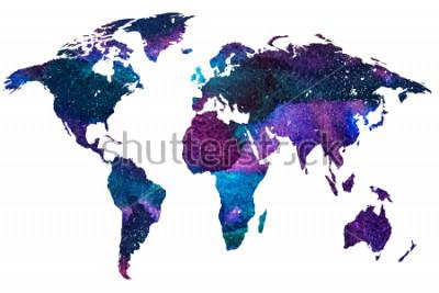 Fototapet 2d hand rit illustration av världskarta. Färggradienterad akvarellbild av isolerad jordplanet. Färgglada kontinent. Vit bakgrund.