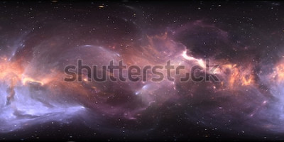 Fototapet 360 graders rymdnebulpanorama, rektangulär projektion, miljökarta. HDRI sfärisk panorama. Utrymme bakgrund med nebula och stjärnor. Illustration 3d
