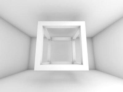 Fototapet 3d bakgrund illustration, flygande tom balk kub