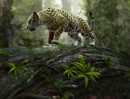 Fototapet 3d CG graphics of a jaguar on the prowl