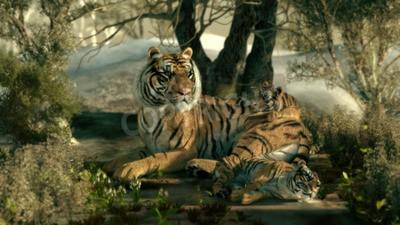 Fototapet 3D-grafik av en tiger mor med två barn