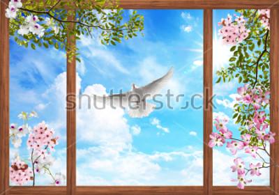 Fototapet 3d himmel moln och vackra träd, blomma ram