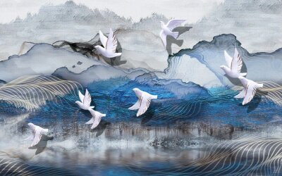 Fototapet 3d illustration, abstract grunge background, gray and blue waves, smoke, white gilded ceramic birds