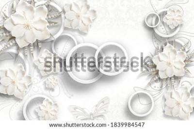 Fototapet 3d illustration of flower background-3d wallpaper