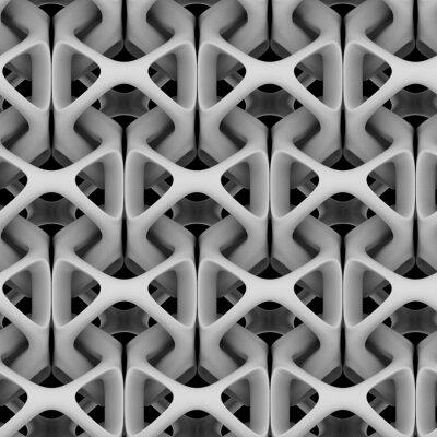 Fototapet 3d illustration, vit matt abstrakt kedja på en svart bakgrund