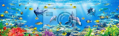 Fototapet 3d illustration  wallpaper under sea dolphin, Fish, Tortoise, Coral reefsand water with broken wall bricks background. will visually expand the space in a small room, bring more light and become an ac
