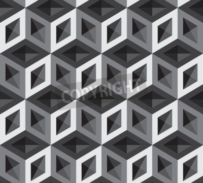 Fototapet 3d kuber mönster illustration. Bakgrund och bakgrund.