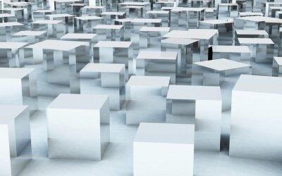 Fototapet 3D mass kub av stål metall reflexion