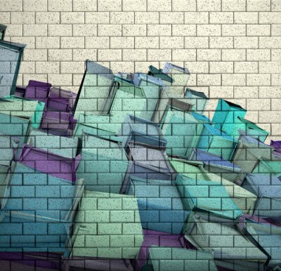 Fototapet 3d mosaik tegelvägg med kub fragmenterad mönster