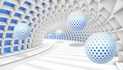 Fototapet 3d picture balls fly away into the tunnel perspective