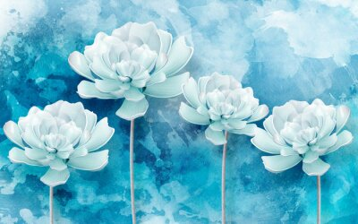Fototapet 3d picture of blue flowers on a blue background