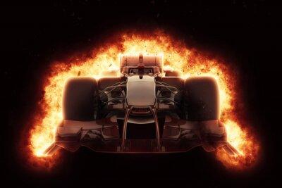 Fototapet 3D racerbil med eldig explosion effekt