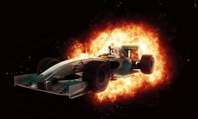 Fototapet 3D-racing bil med eldig explosion effekt