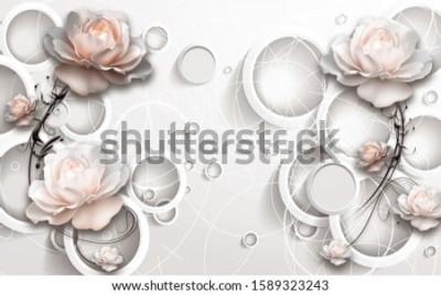 Fototapet 3D Rings and Flowers wallpaper