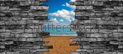 Fototapet 3D stenmur tak landskap tapeter